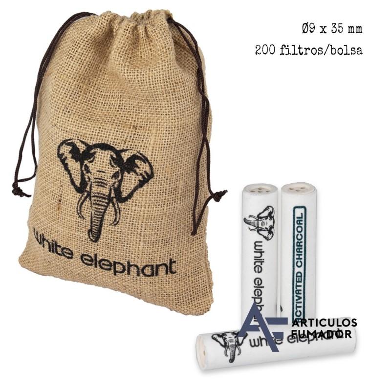 Saco con 200 filtros de 9 mm. «White Elefant» para cachimba.